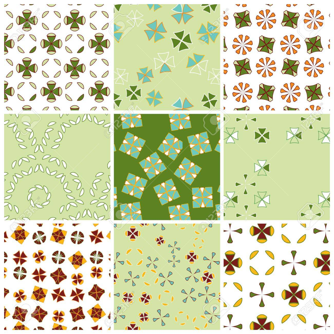 Geometric matching patterns in spring colors Stock Vector - 12495096