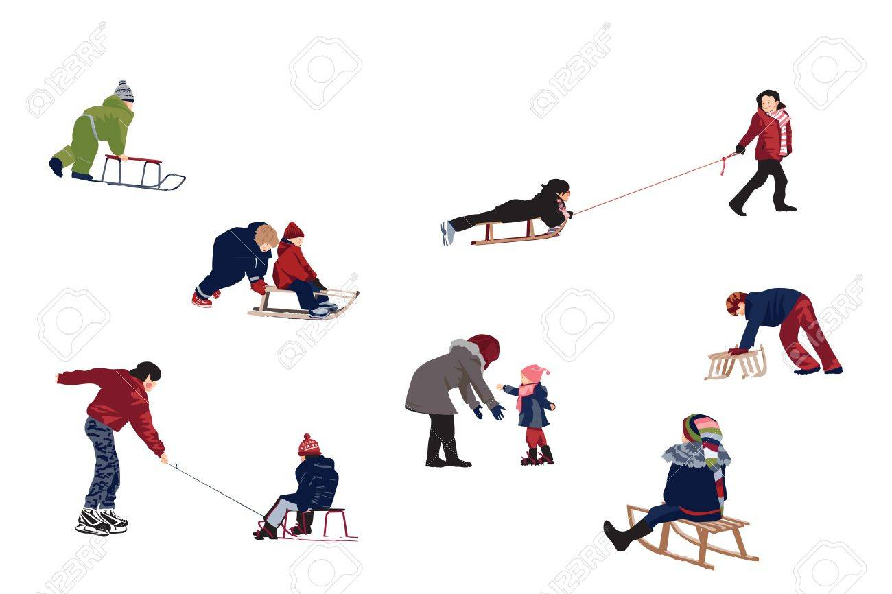 Children enjoy activities at snow - design elements Stock Vector - 16406836