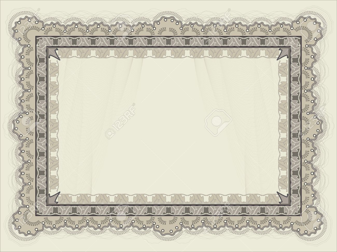 Blank Horizontal Certificate Template Royalty Free Cliparts, Vectors ...