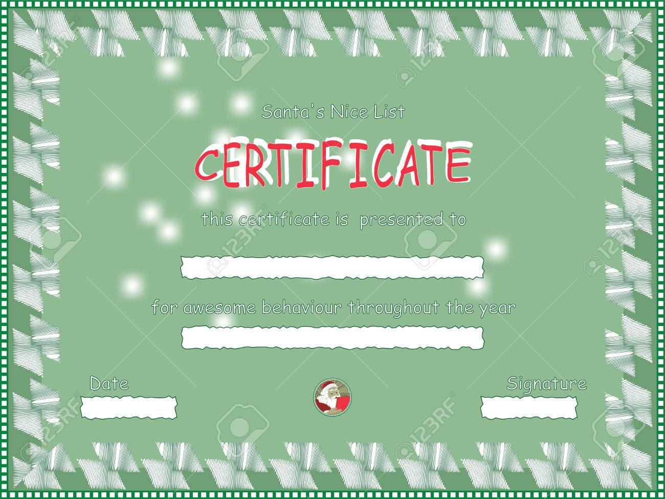 nice list certificate from santa royalty cliparts vectors nice list certificate from santa stock vector 23297974