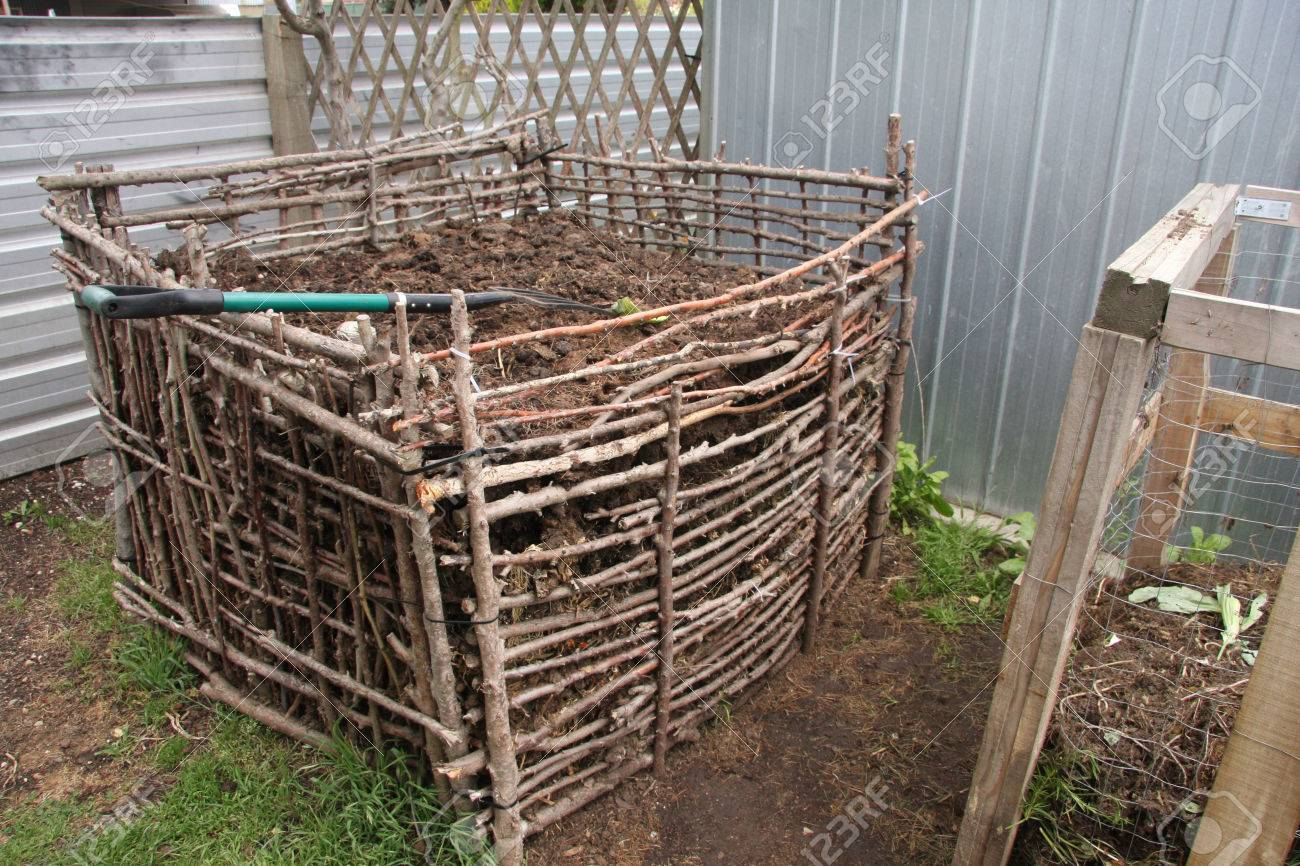 Backyard Compost Bin Built From Natural Materials Stock Photo   34034434