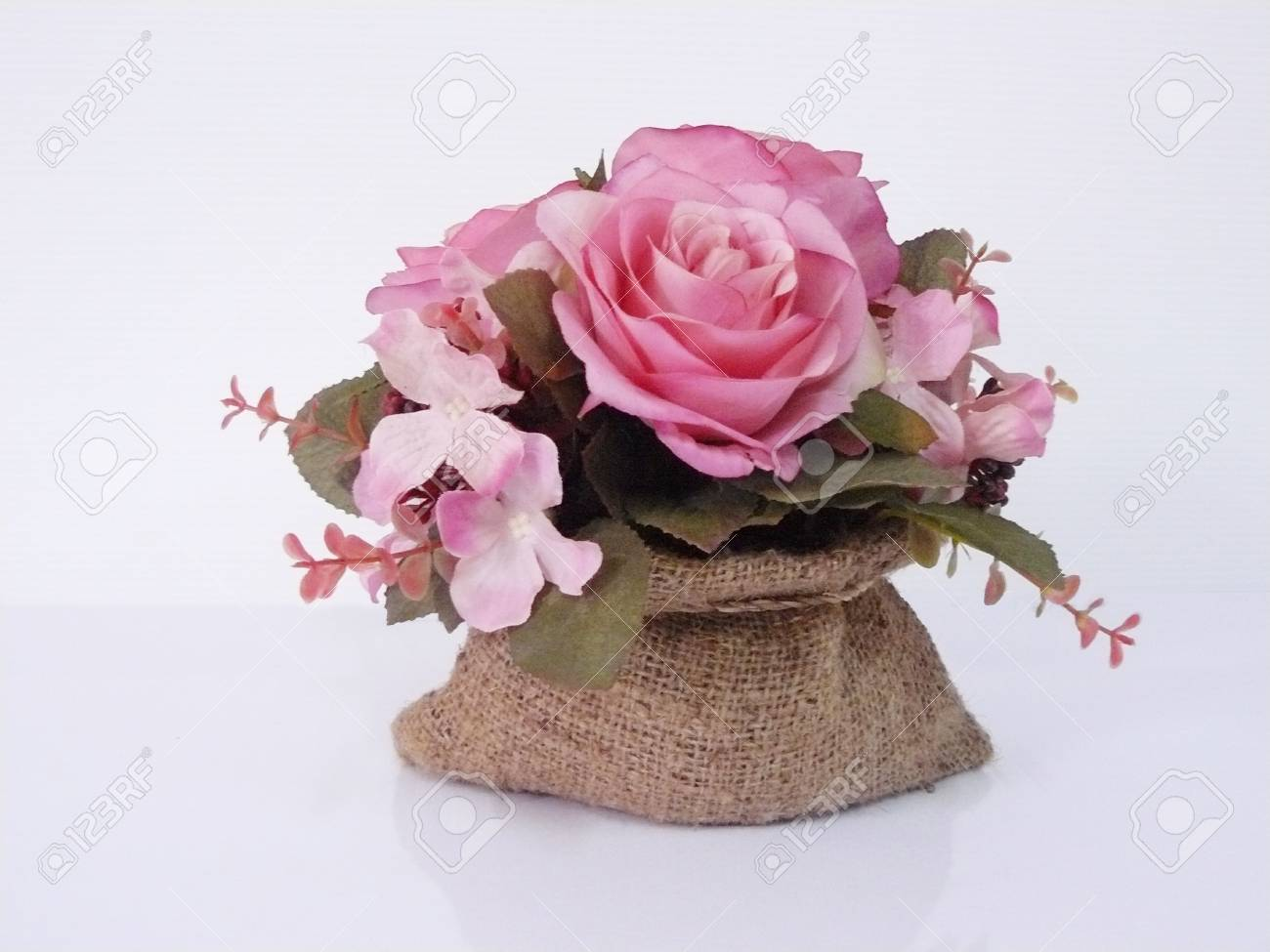 Vintage Pink Rose Of Cloth Artificial Flower Bouquet In Sack Stock