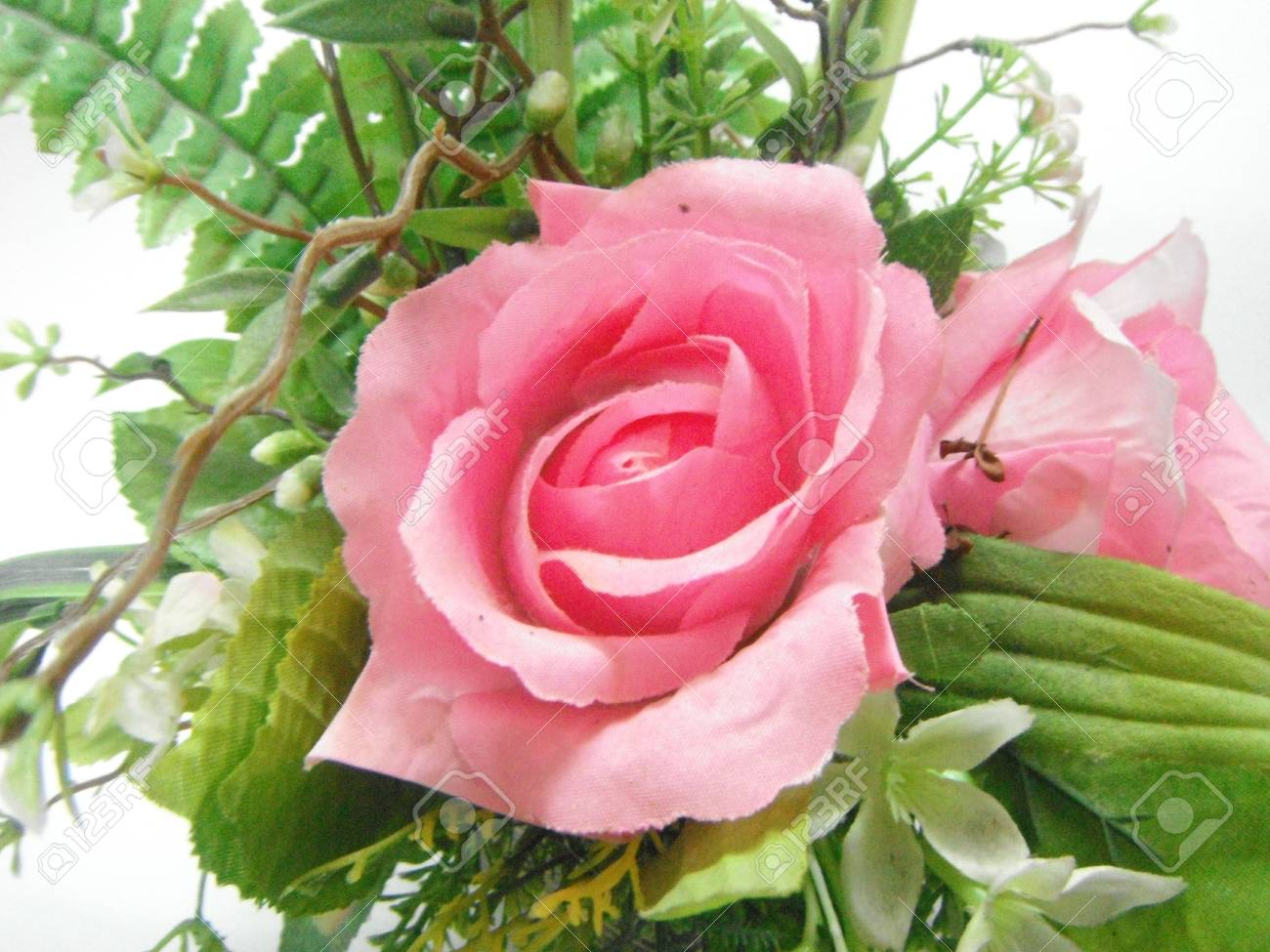 Vintage Pink Rose Of Cloth Artificial Flower Bouquet Beautiful