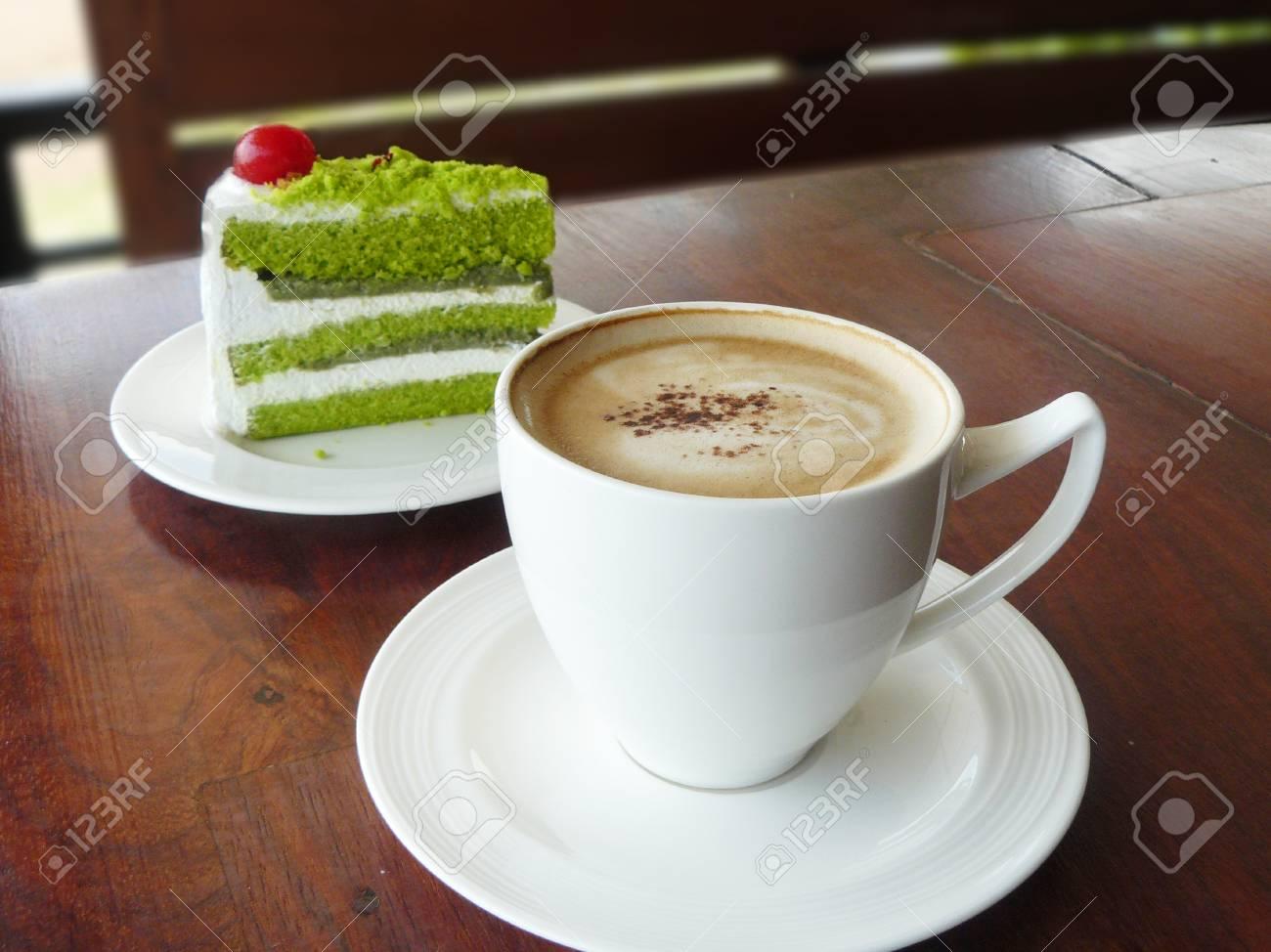 Heiße Tasse Kaffee Cappuccino Dekoriert Blatt Tasse Mit