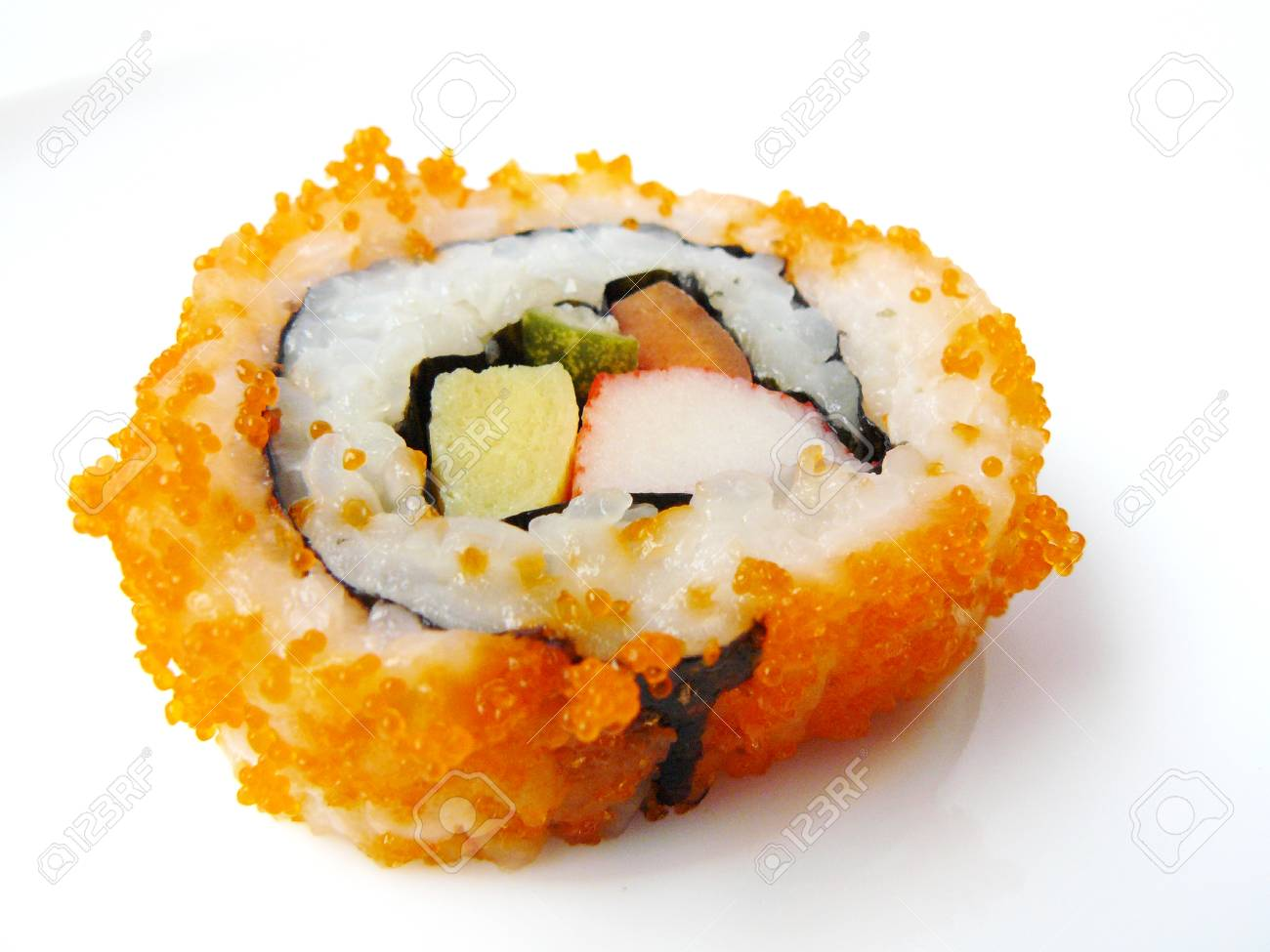 Japanese food  Side view of Flying fish roe seaweed sushi roll