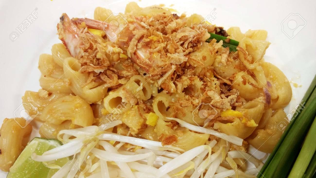 Asian Thai Italian Fusion Food Mix Stir Fried Macaroni With