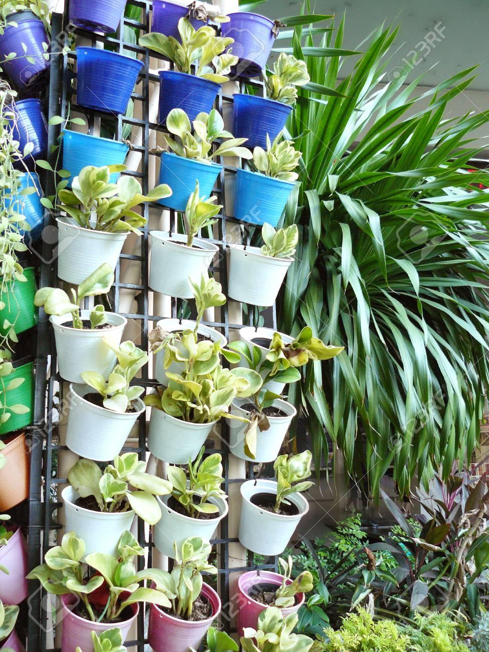 Vertical Garden Planters >> Vertical Garden On Wall Of Column Small Flower Pots On Vertical