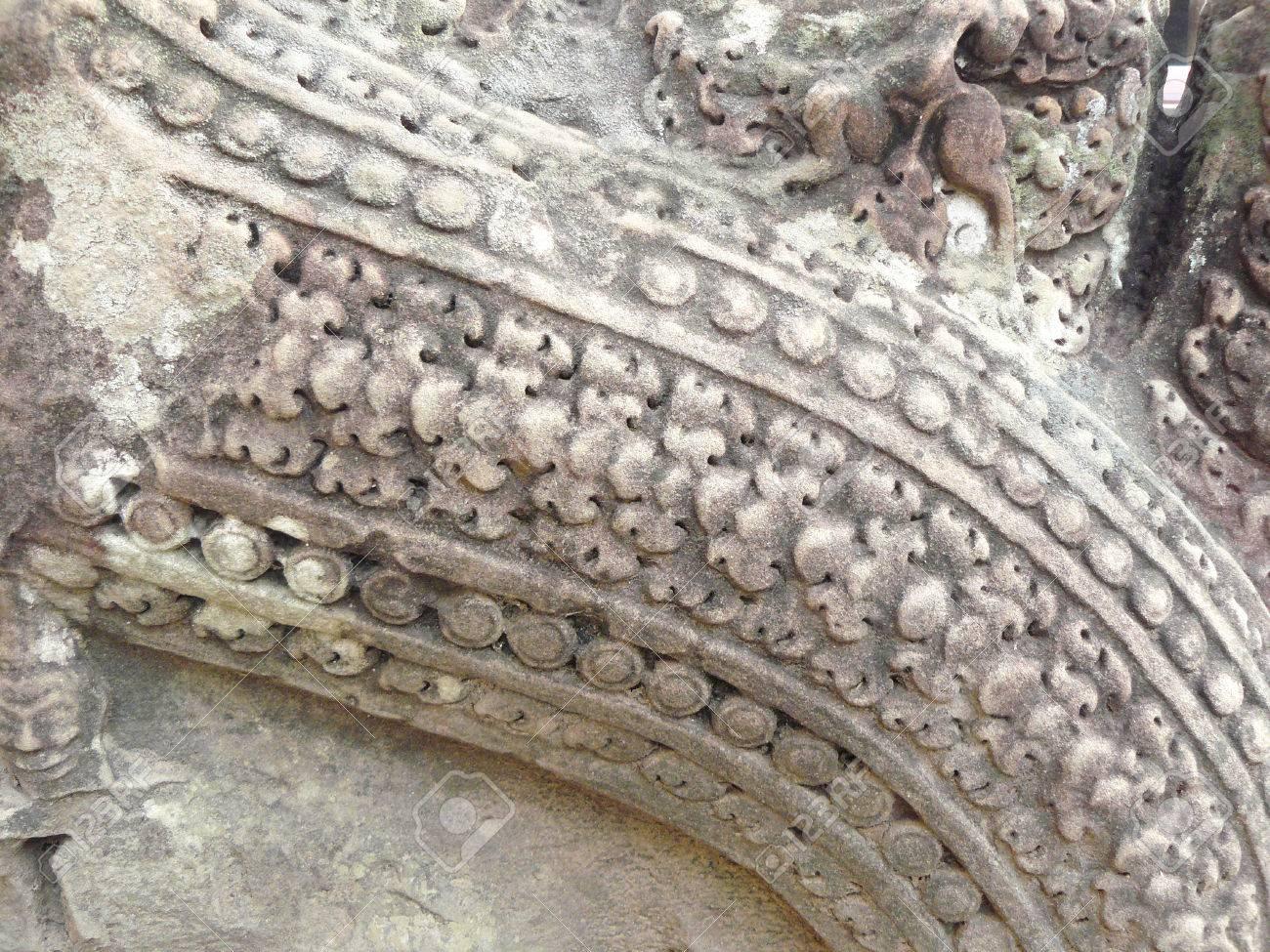 Patrón Floral. El Diseño Tallado Antiguo Del Modelo Floral En La ...