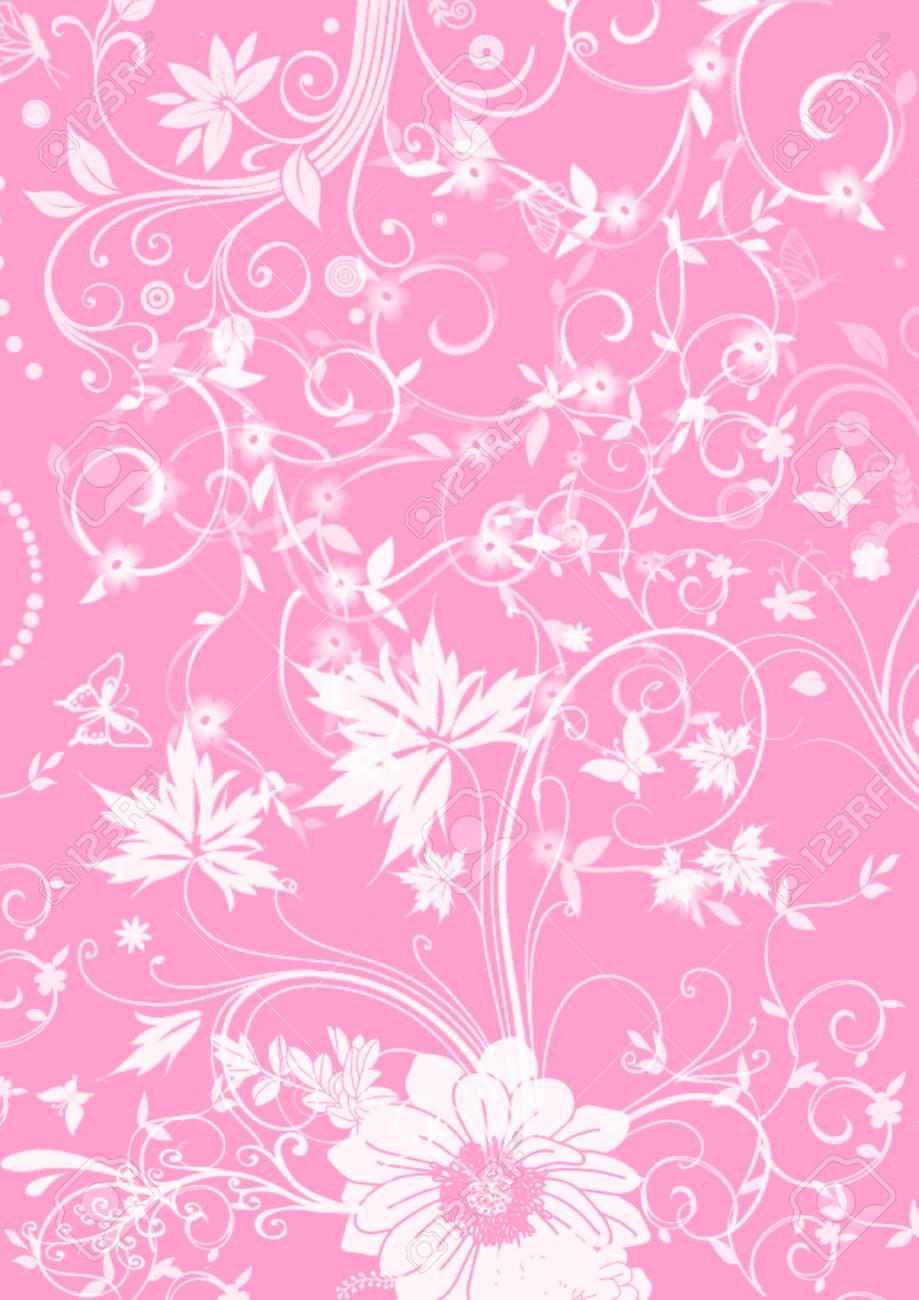 美しい白い花のイラスト ピンク背景に蝶花柄 ロイヤリティーフリーフォト