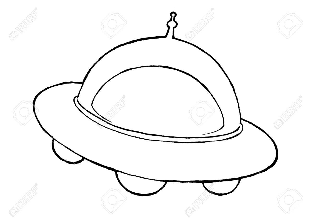 Ilustración De Ovni Con Espacio Exterior Dibujos Animados O Estilo Comic Arte De Línea Para Colorear