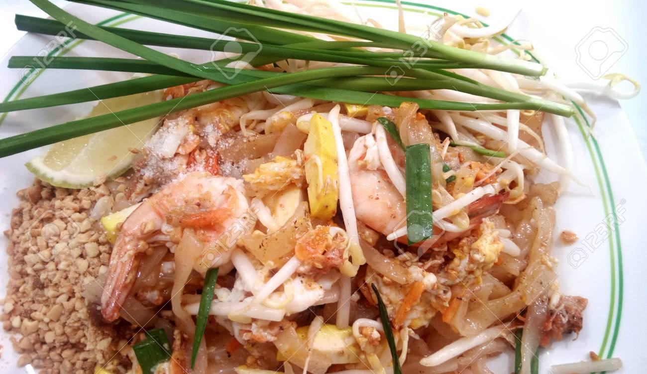 Asian Thai Food Stir Fried Noodles With Tamarind Sauce Tofu