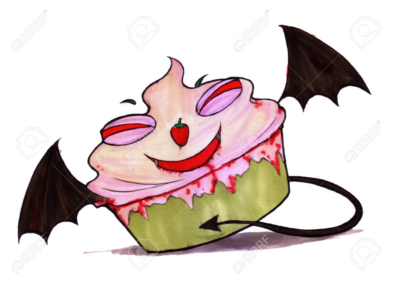 Ghost Dessert Color Drawing Cup Cake Devil Of The Halloween Stock