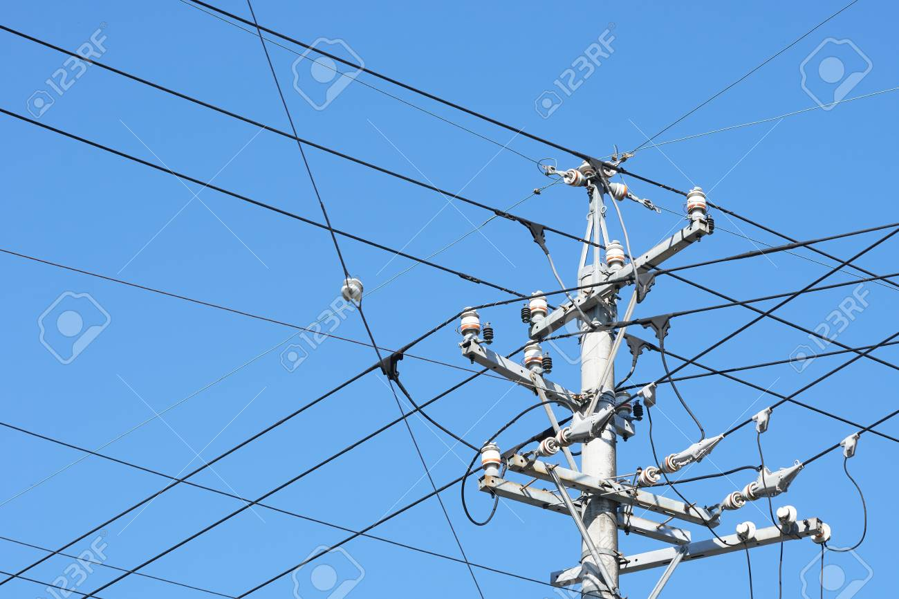 Power Supply Poles In Japan Organized Wiring Is Neat. Supply.. Stock ...