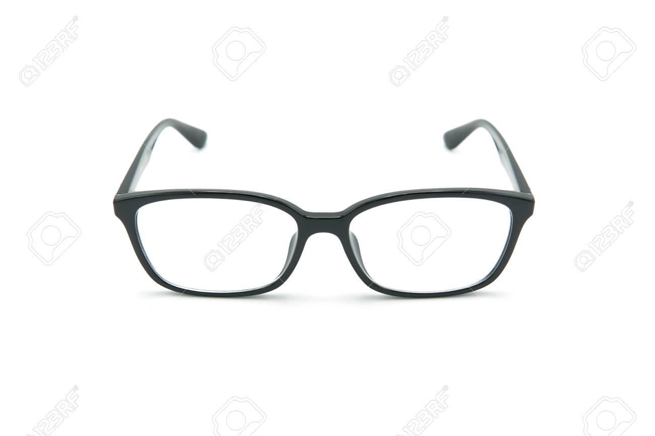Brille Mit Schwarzen Augengläsern Mit Glänzendem Schwarzem Rahmen ...