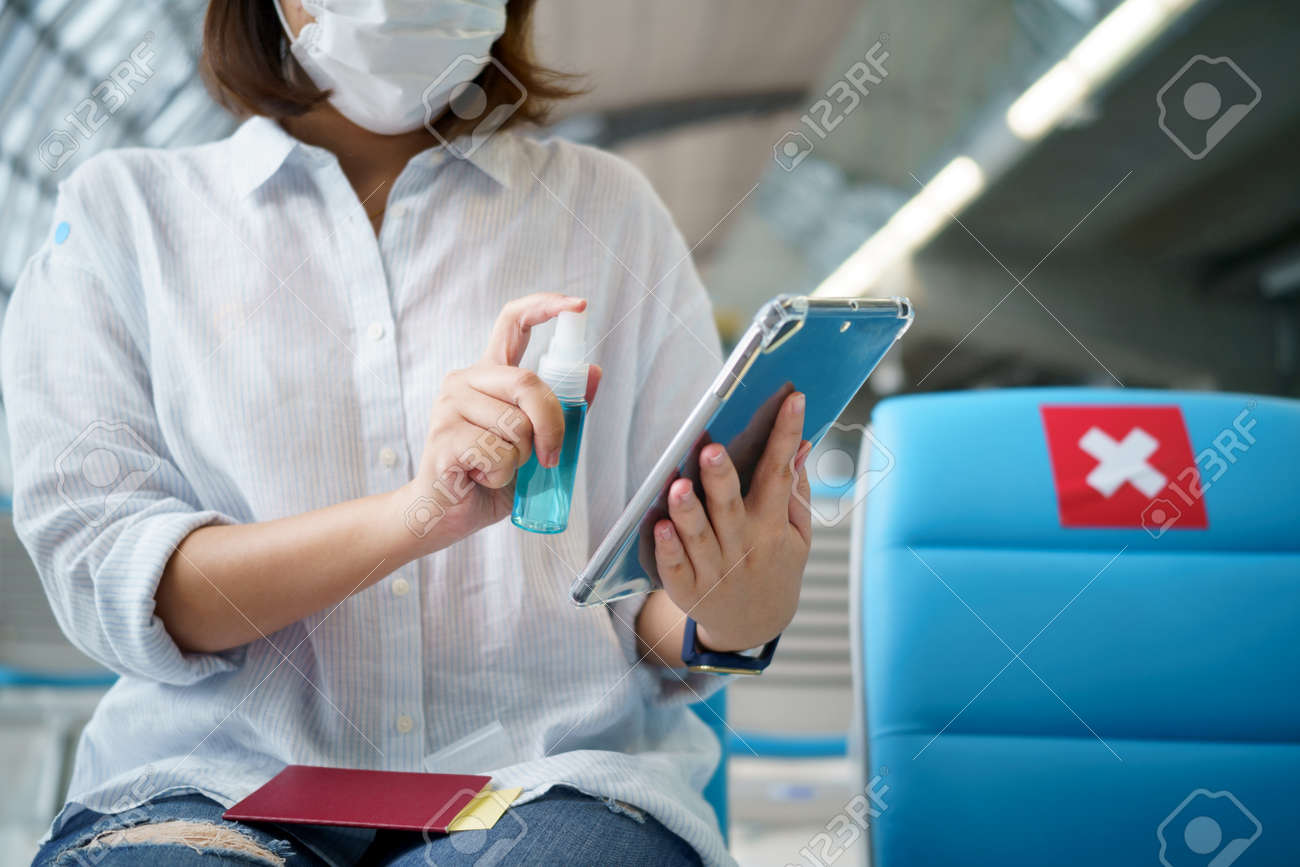 Disinfectant sprayers and germs that adhere on objects on the surface. prevent infection Covid 19 viruses or coronavirus And various pathogens. concept healthcare system ,stay safe and hand sanitizer. - 170694812
