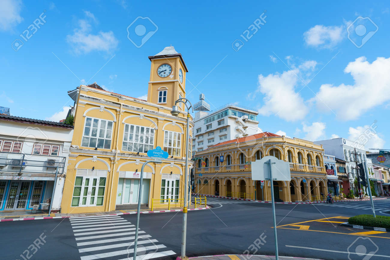 Phuket old town with Building Sino Portuguese architecture at Phuket Old Town area Phuket, Thailand. - 170944104