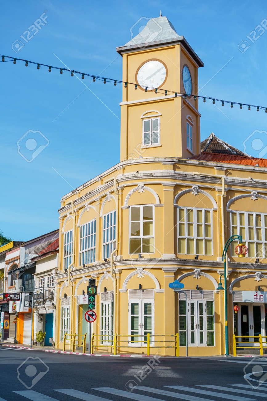 Phuket old town with Building Sino Portuguese architecture at Phuket Old Town area Phuket, Thailand. - 171250106