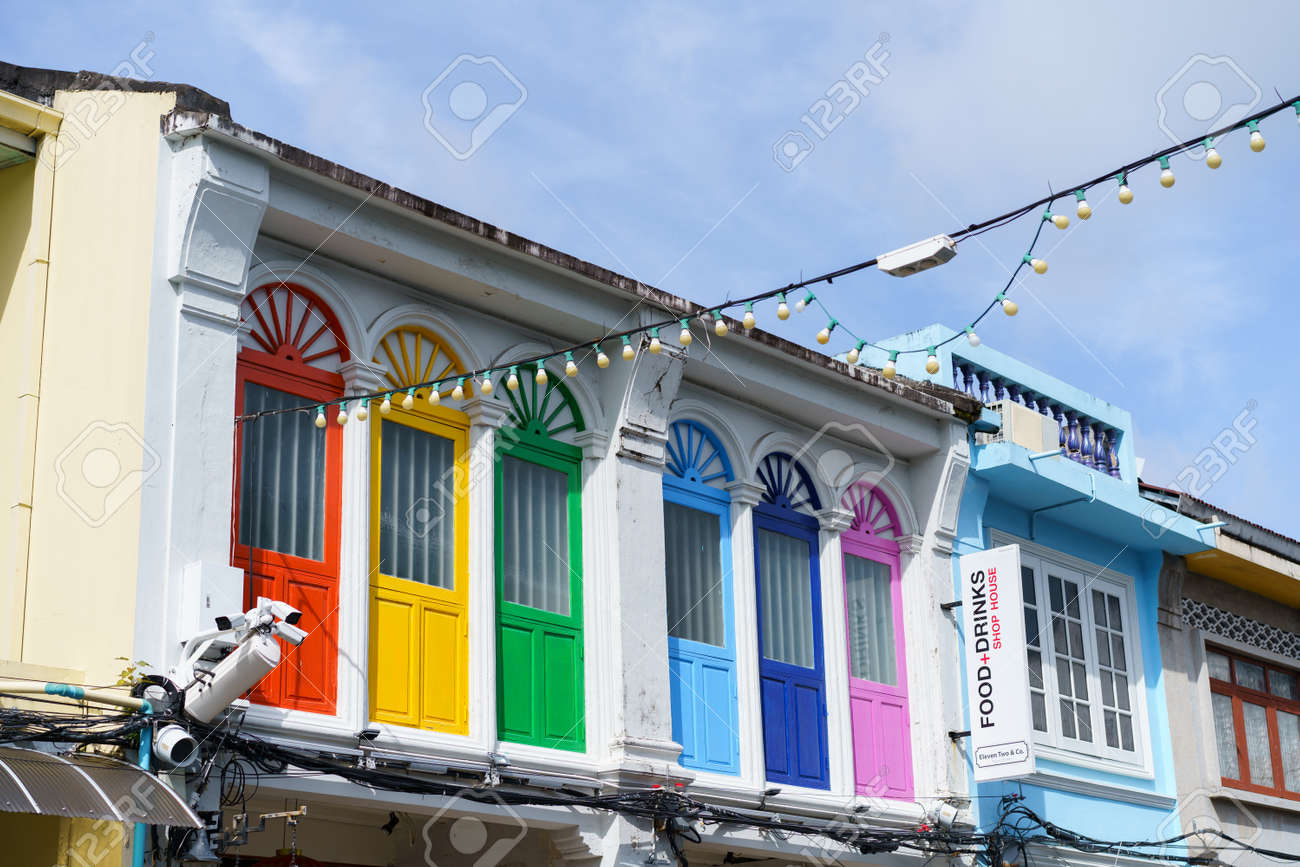 Phuket old town with Building Sino Portuguese architecture at Phuket Old Town area Phuket, Thailand. - 171356705