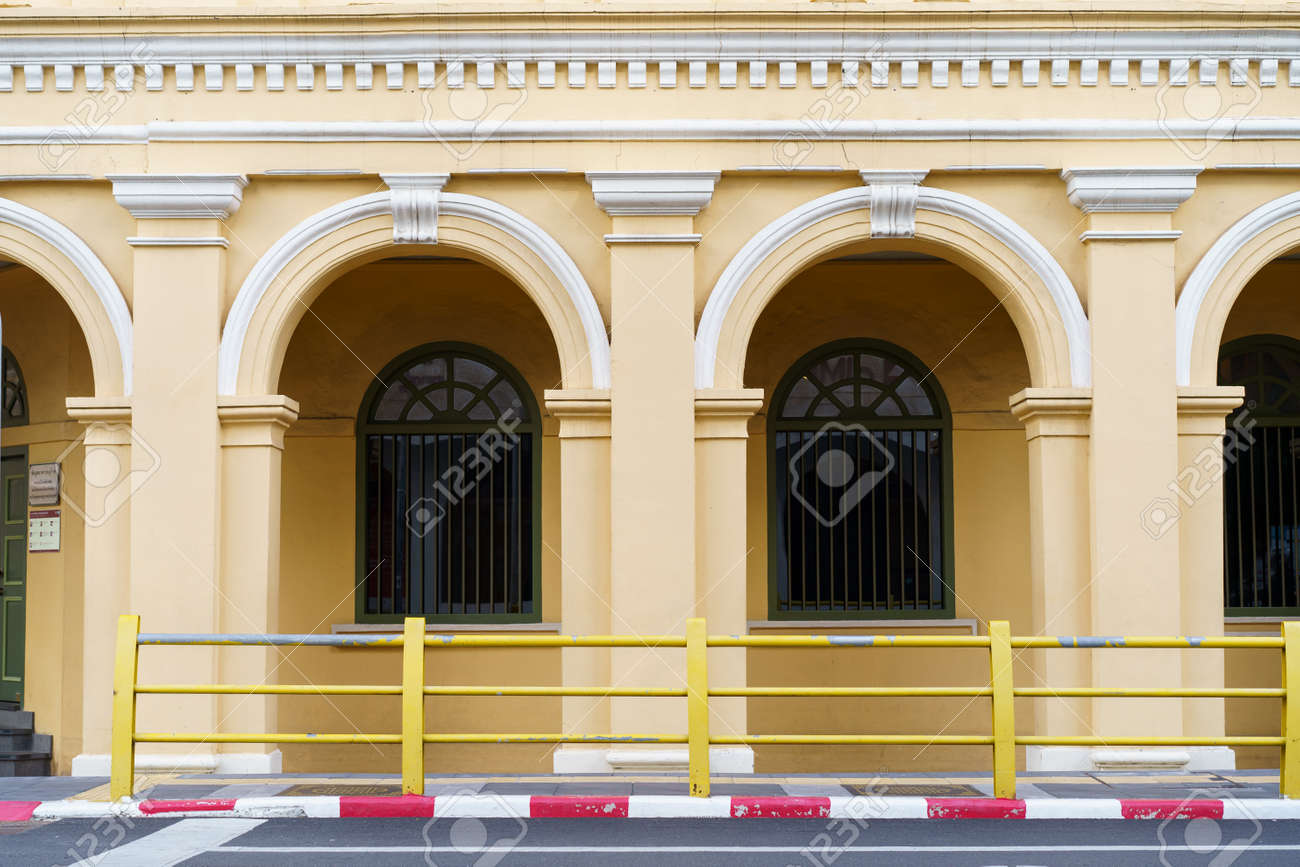 Phuket old town with Building Sino Portuguese architecture at Phuket Old Town area Phuket, Thailand. - 171357084