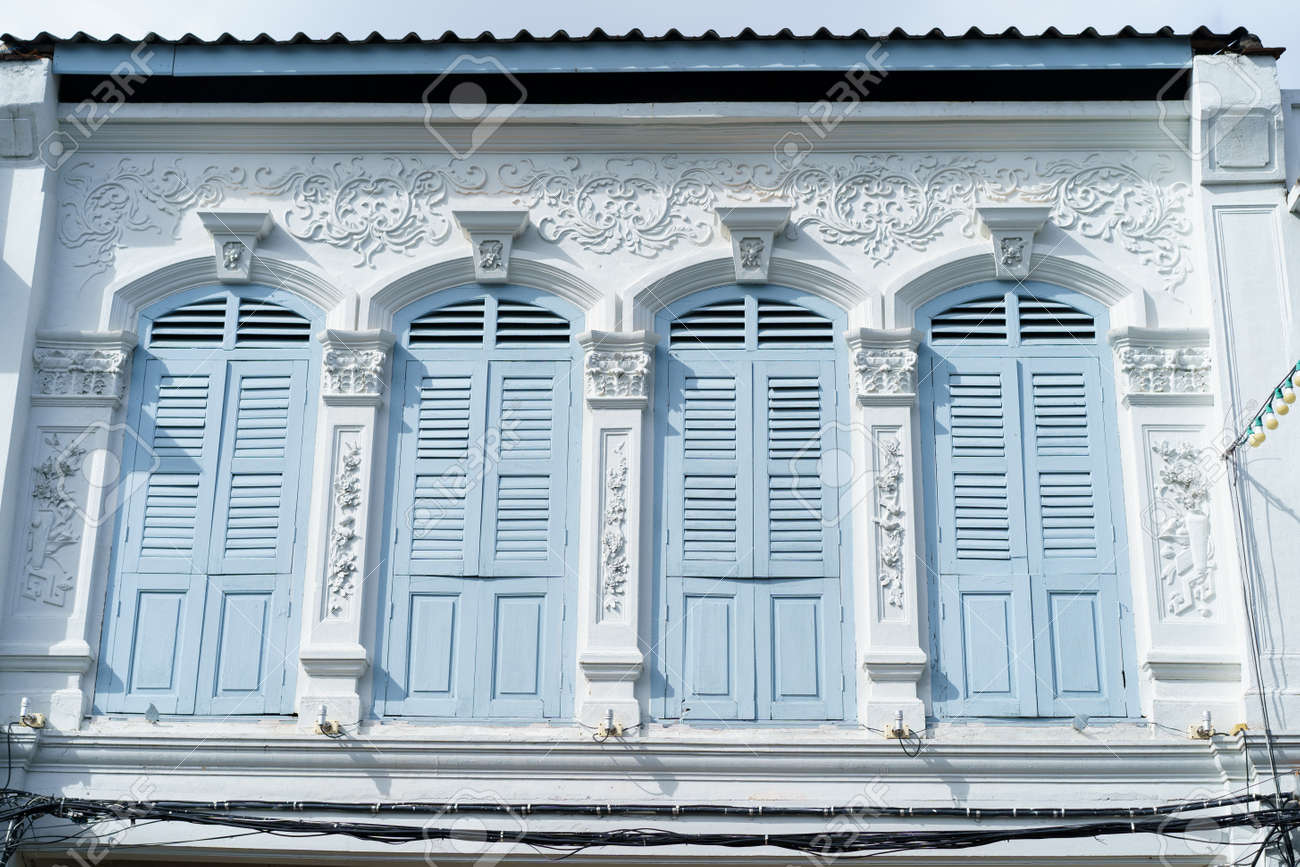 Phuket old town with Building Sino Portuguese architecture at Phuket Old Town area Phuket, Thailand. - 171706706