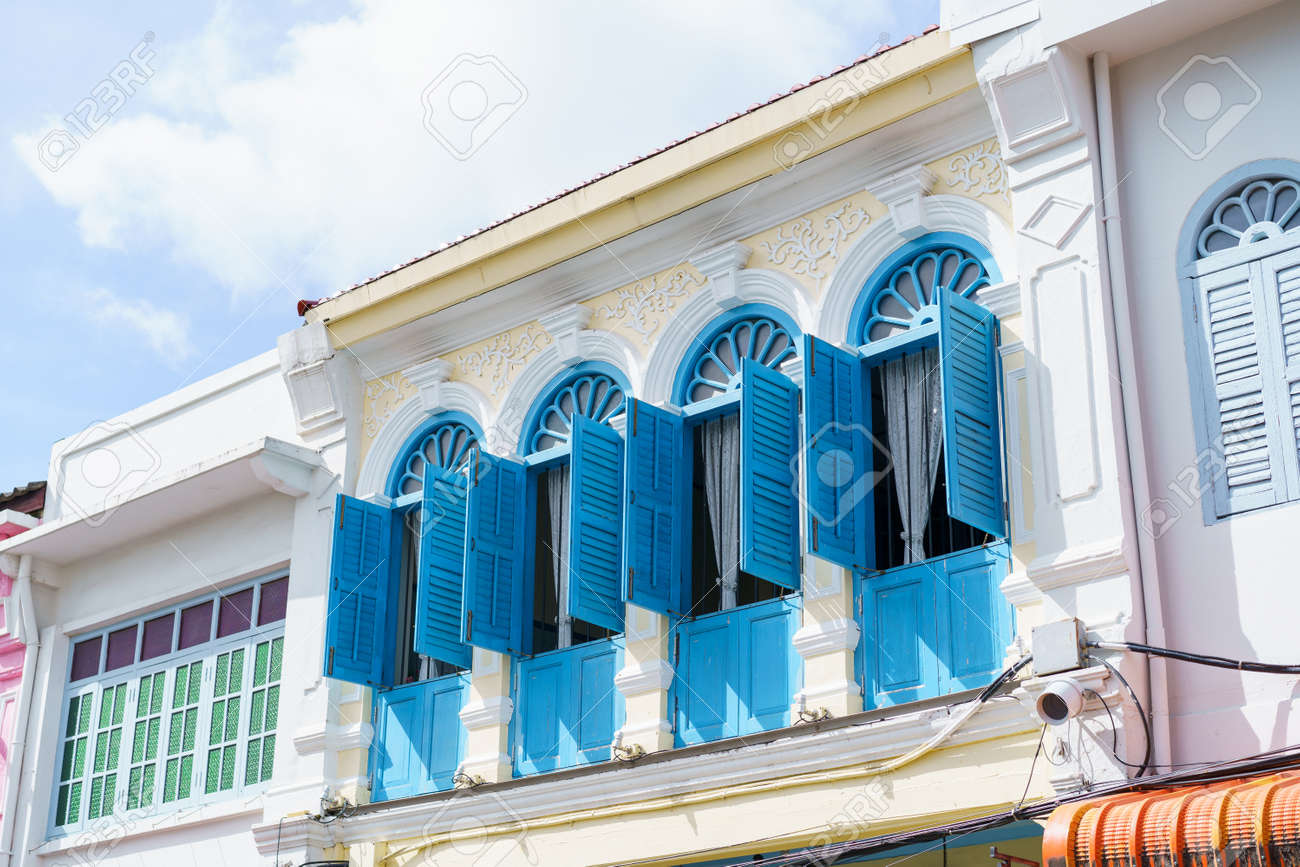 Phuket old town with Building Sino Portuguese architecture at Phuket Old Town area Phuket, Thailand. - 171706586