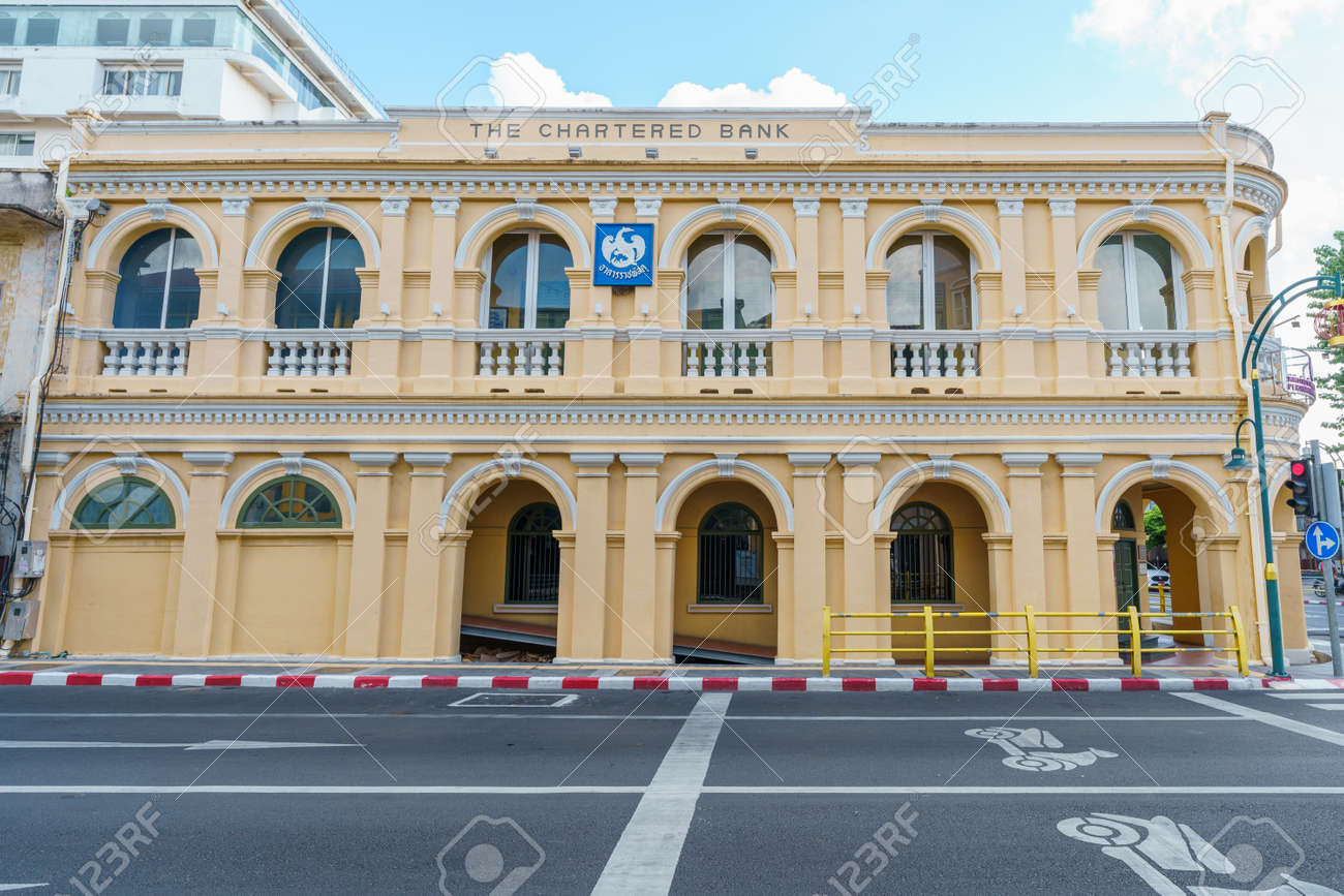 Phuket old town with Building Sino Portuguese architecture at Phuket Old Town area Phuket, Thailand. - 171906555