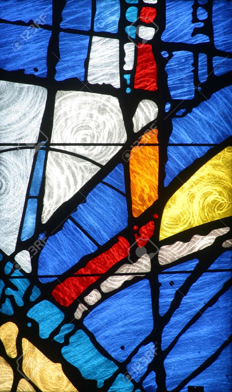 A Bright And Colorful Stained Glass Window In The Church Of Holy Cross Zagreb
