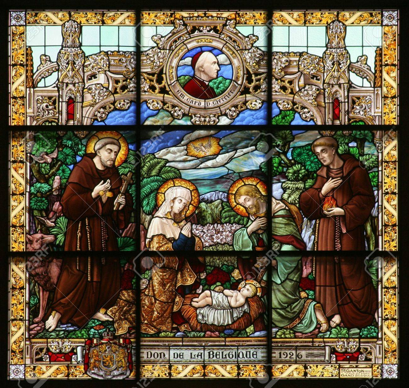 Crèche, Vitrail, église De Sainte-Catherine, Bethléhem Banque D'Images Et  Photos Libres De Droits. Image 5896666.