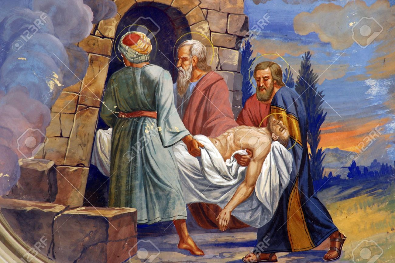 Jesus is laid in the tomb Stock Photo - 39885147