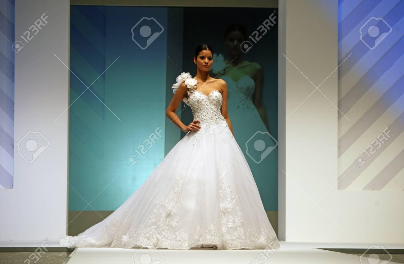 ZAGREB, CROATIA - FEBRUARY 19: Fashion Model Walks The Runway ...