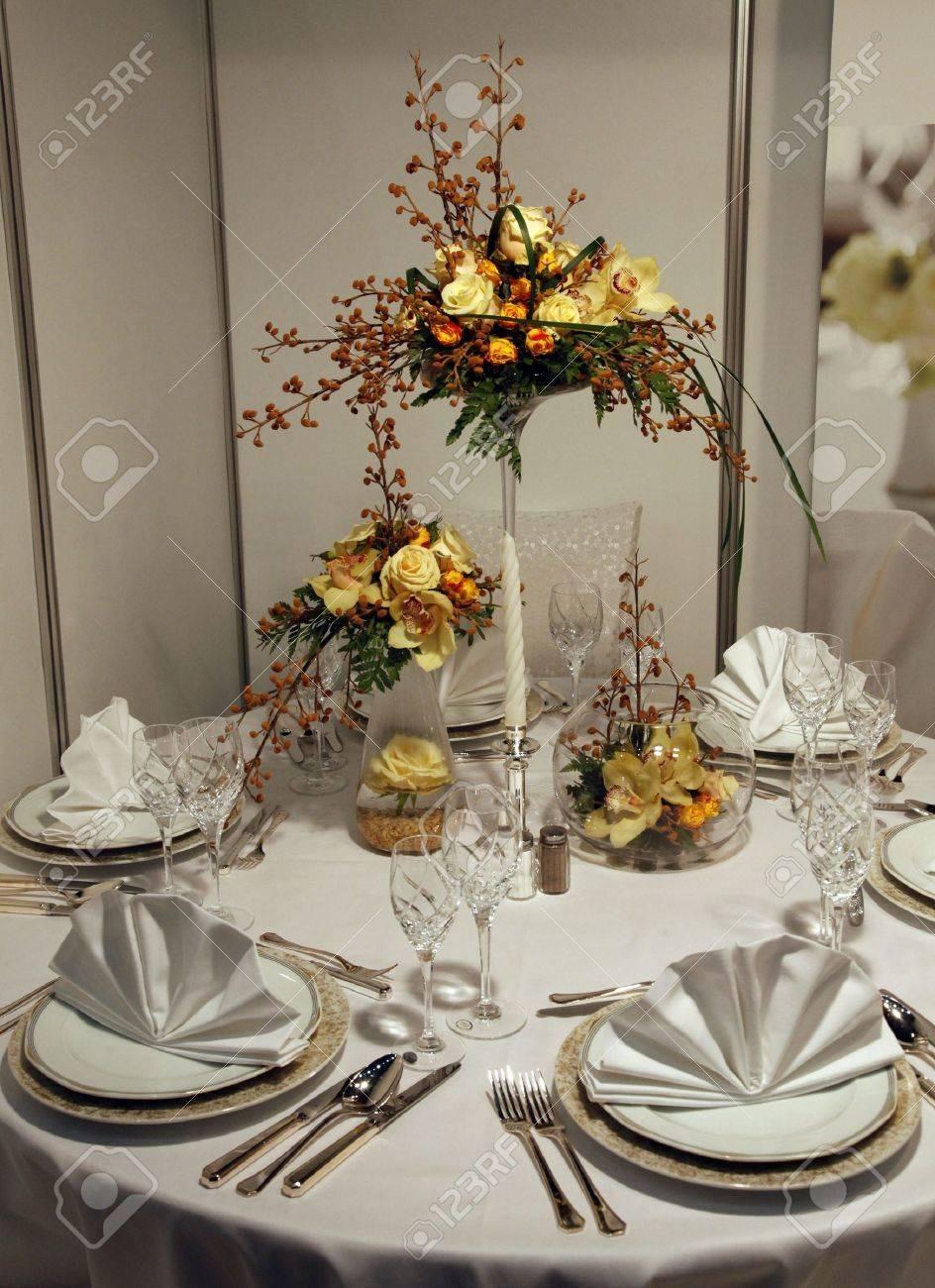 Beautiful table set for wedding Stock Photo - 12424876