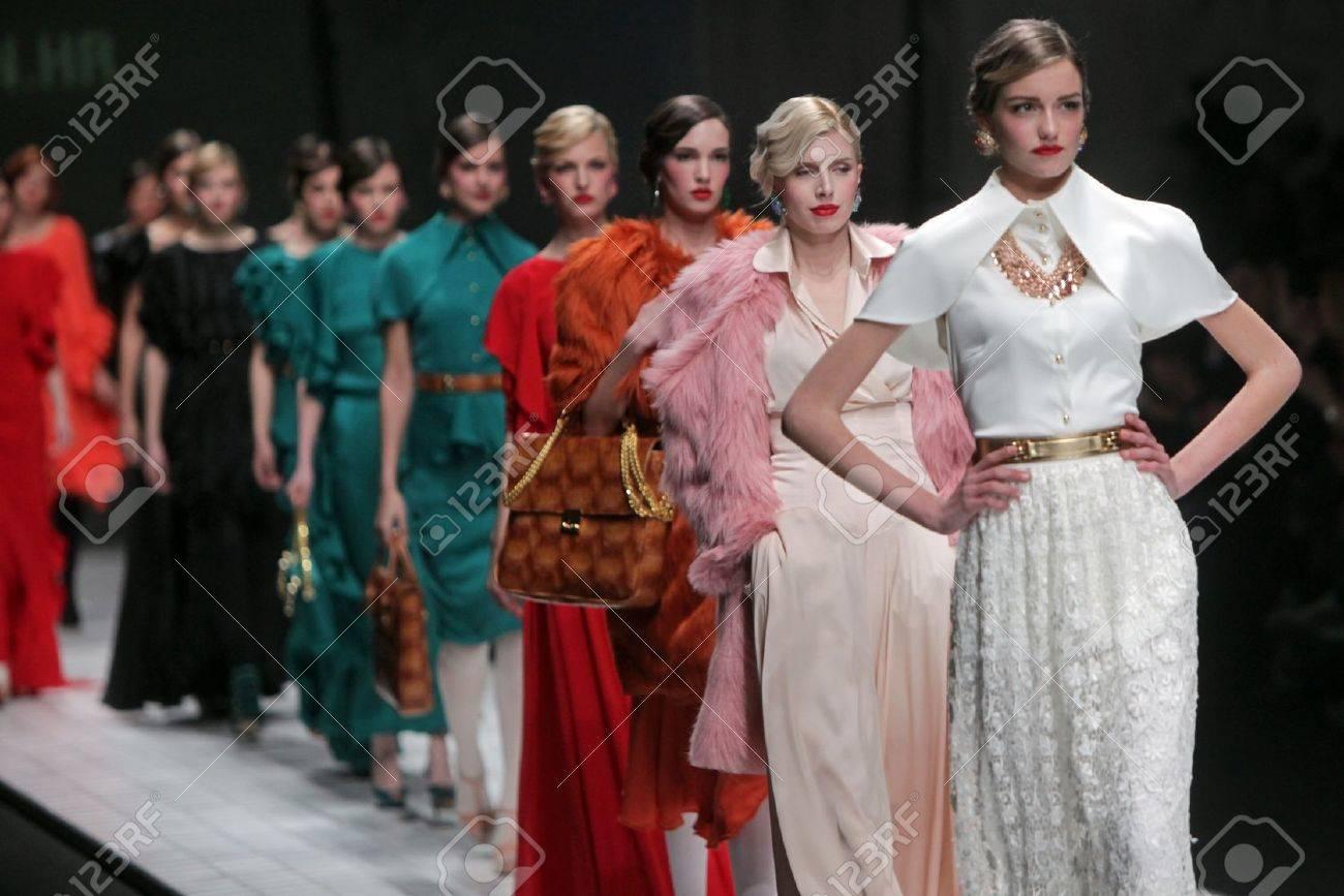 ZAGREB, CROATIA - MARCH 16: Fashion model wears clothes made by Aleksandra Dojcinovic on