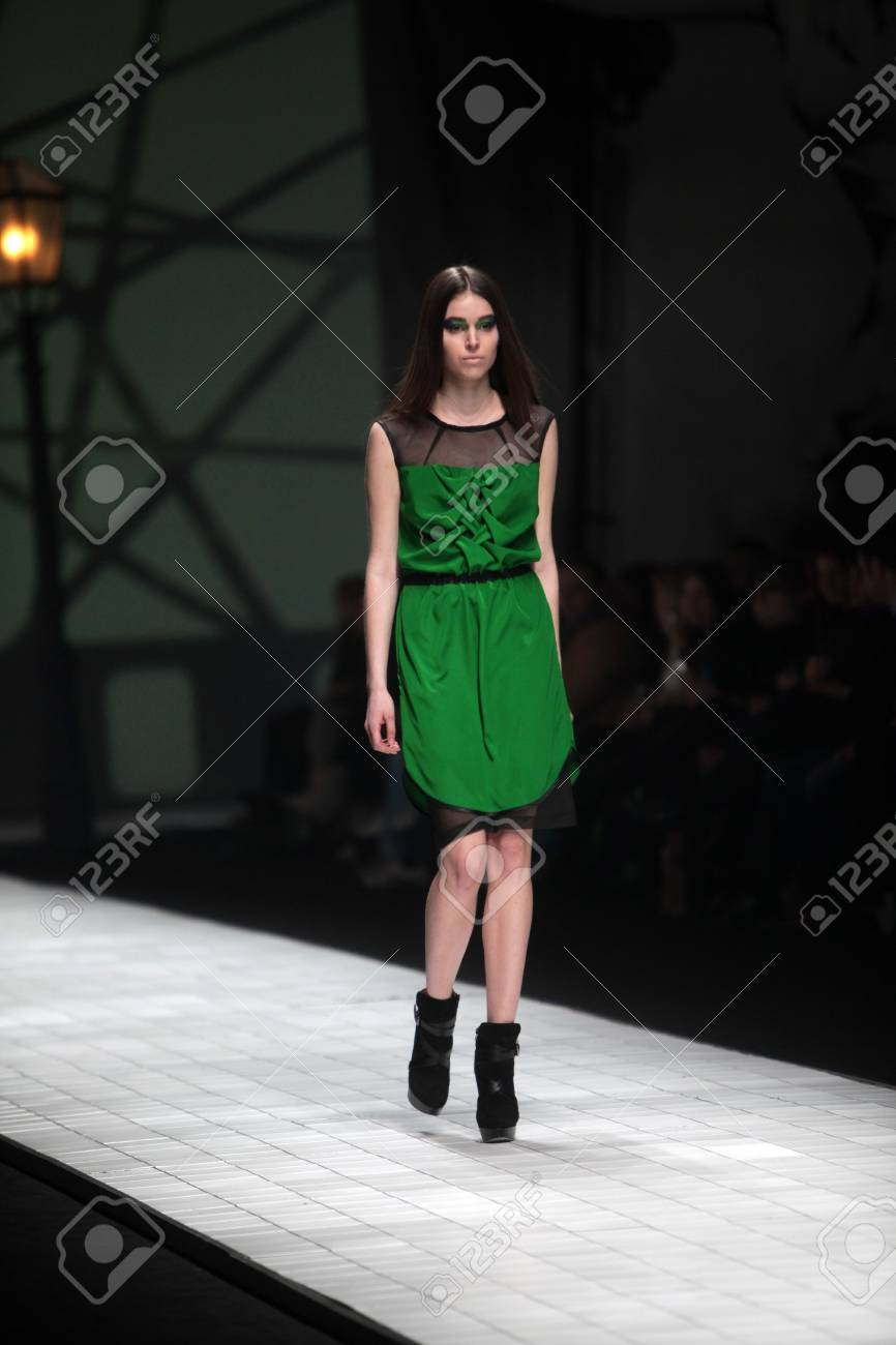 ZAGREB, CROATIA - MARCH 16: Fashion model wears clothes made by Ana Maria Ricov on
