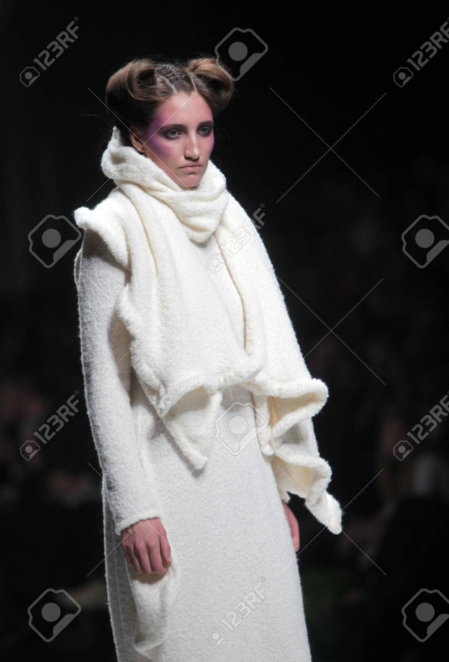 ZAGREB, CROATIA - MARCH 16: Fashion model wears clothes made by Arena by Galas on