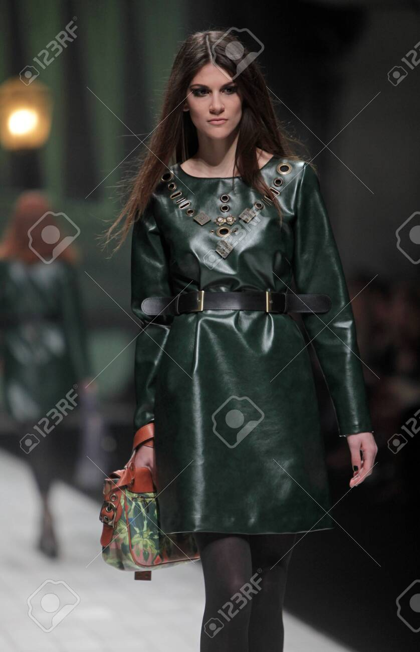 ZAGREB, CROATIA - MARCH 17: Fashion model wears clothes made by Hera by Robert Sever on