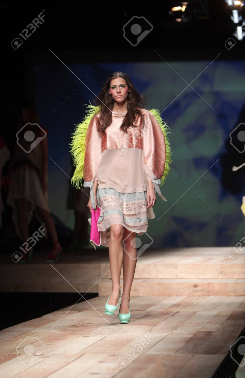 ZAGREB, CROATIA - MARCH 24: Fashion model wears clothes made by Zigman on