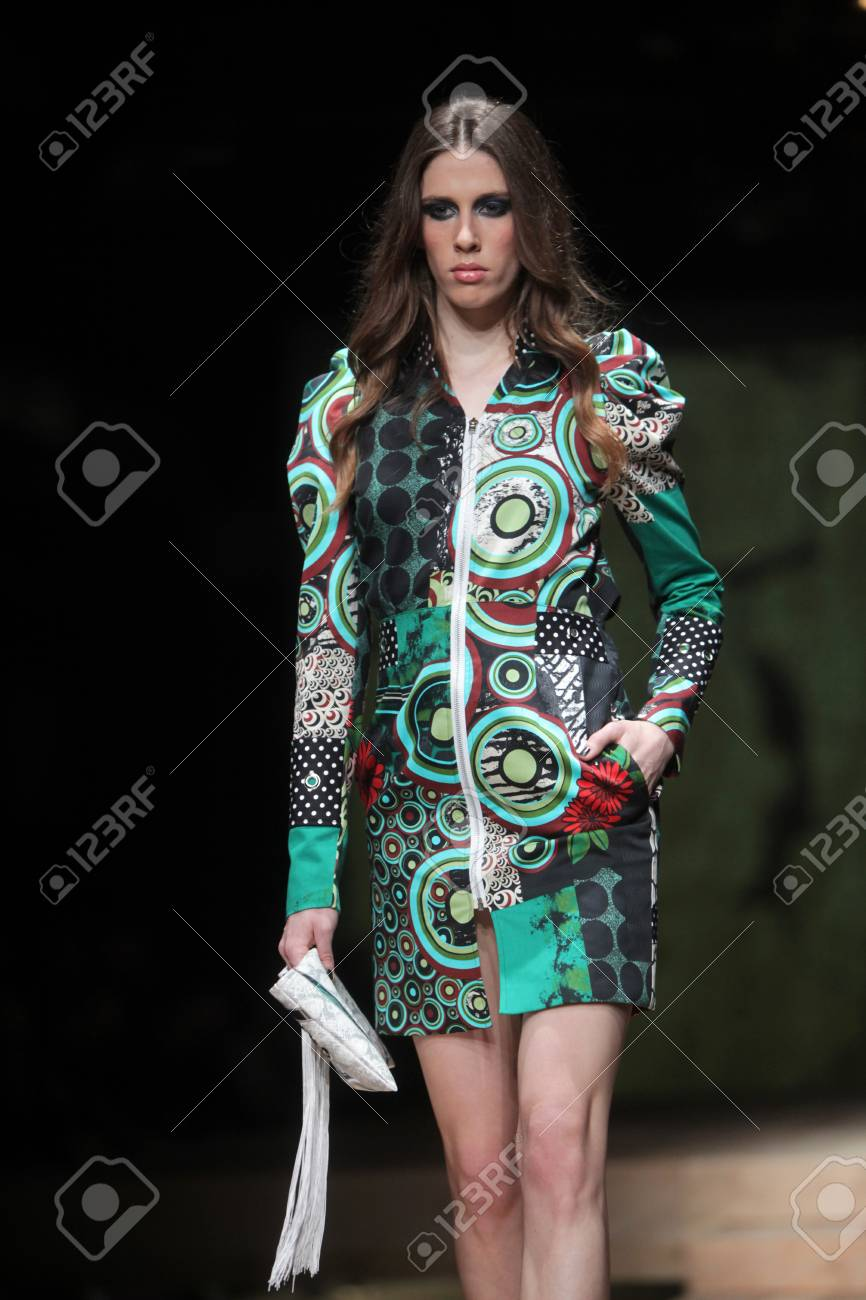 ZAGREB, CROATIA - MARCH 23: Fashion model wears clothes made by Zoran Aragovic on