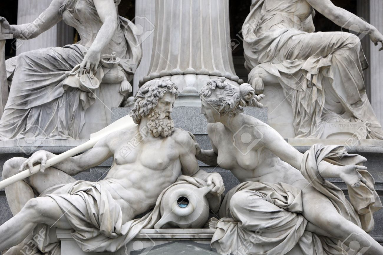 Detail of Pallas-Athene fountain in front of Austrian parliament, Vienna, Austria  Sculptures represent rivers Danube and Inn Stock Photo - 14635183