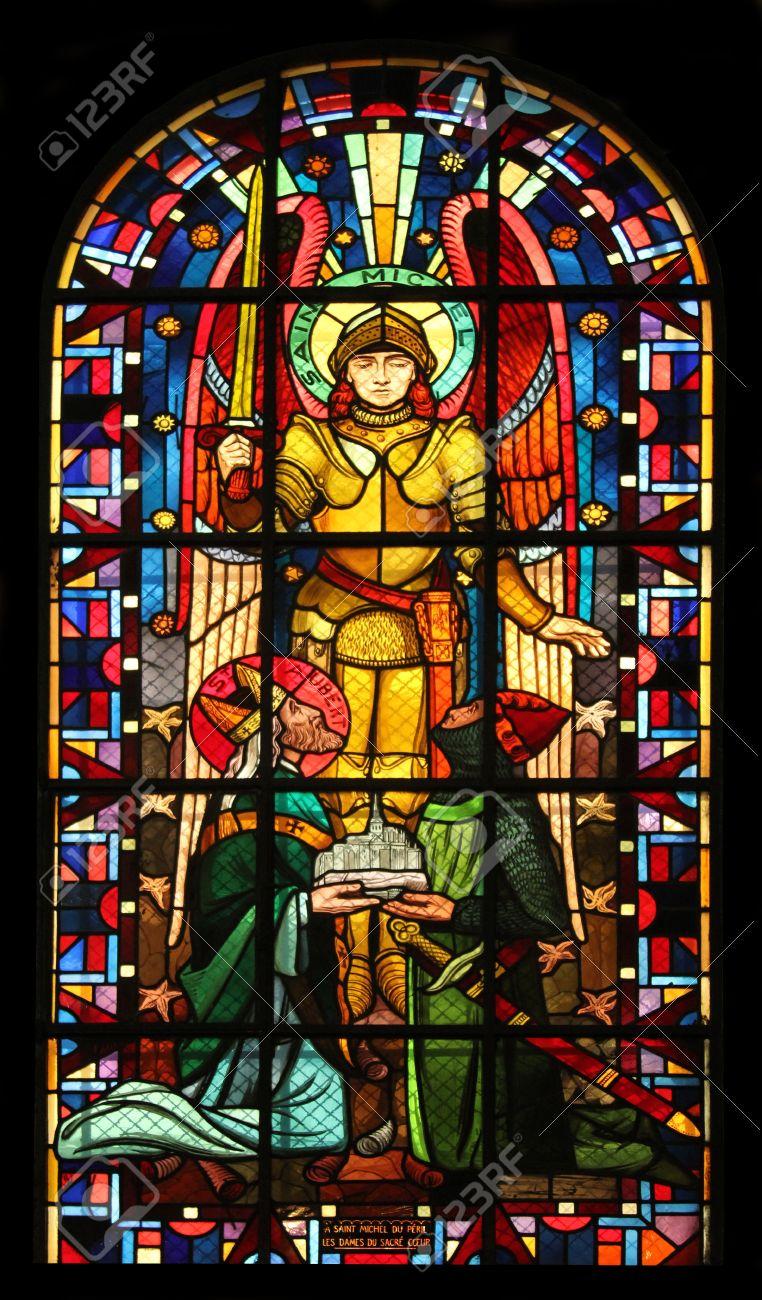 Saint Michael, stained glass, Notre Dame de Clignancourt church, Paris, France Stock Photo - 20976336