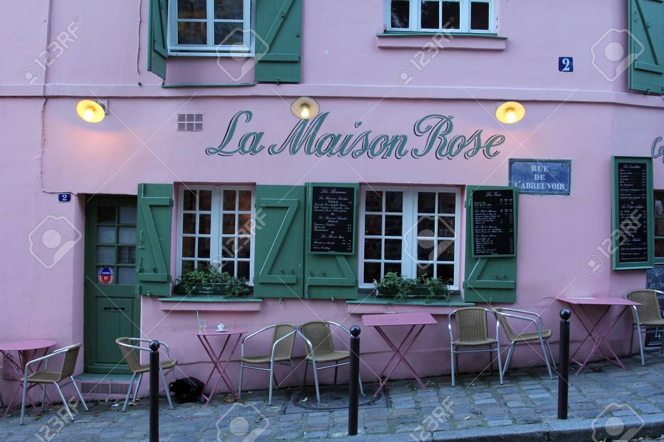 PARIS - NOVEMBER 04, 2012: La Maison Rose restaurant on Montmartre in Paris on November 04, 2012. La Maison Rose is a most tourist attraction on Montmartre Stock Photo - 21008732