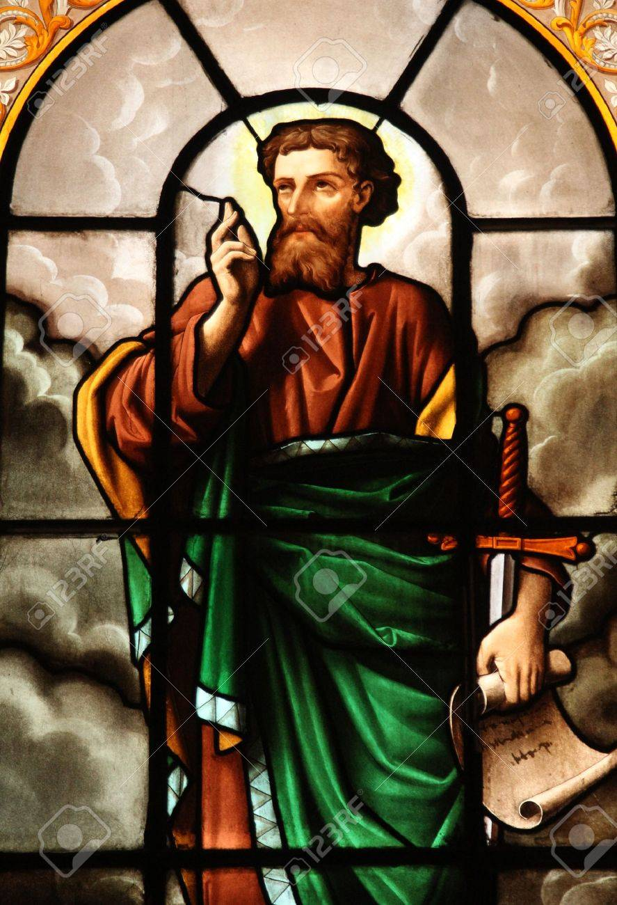 Saint Paul, stained glass, St  Elizabeth of Hungary church, Paris Stock Photo - 22053655