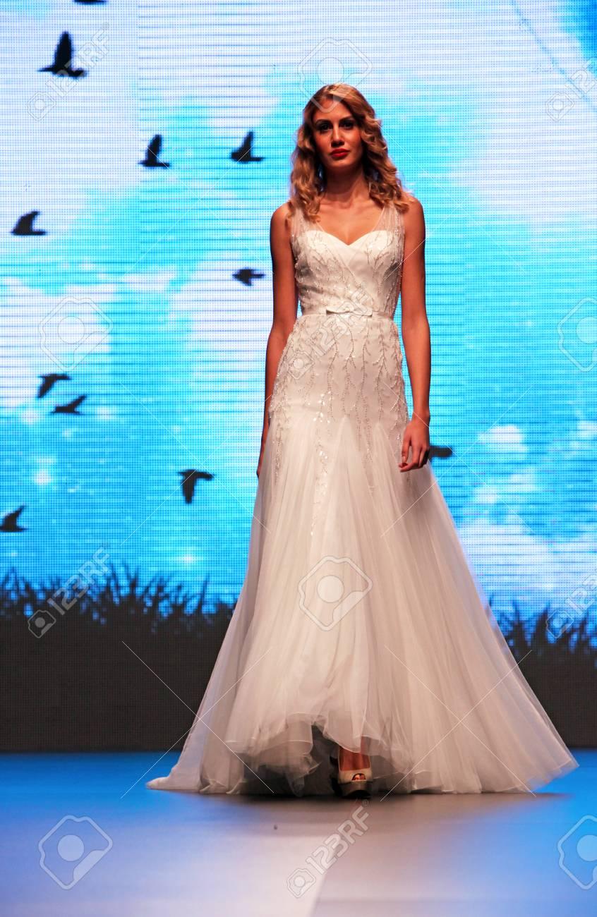 ZAGREB, CROATIA - OCTOBER 04: Fashion Model Wears Dress Made.. Stock ...