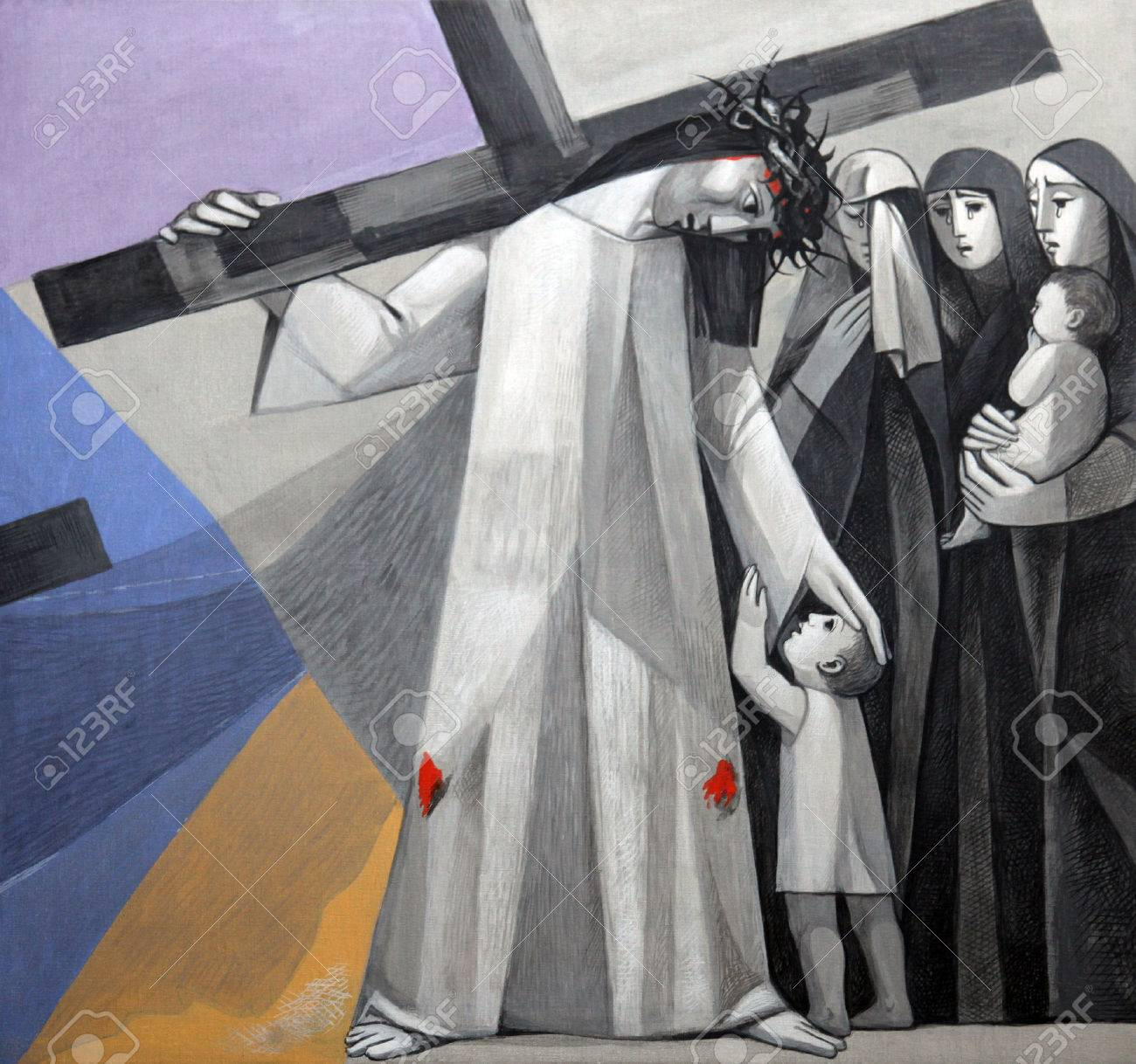 8th Stations of the Cross, Jesus meets the daughters of Jerusalem in the Church of the Holy Trinity in the Bavarian village of Gemunden am Main, in the Diocese of Wurzburg Stock Photo - 27851261