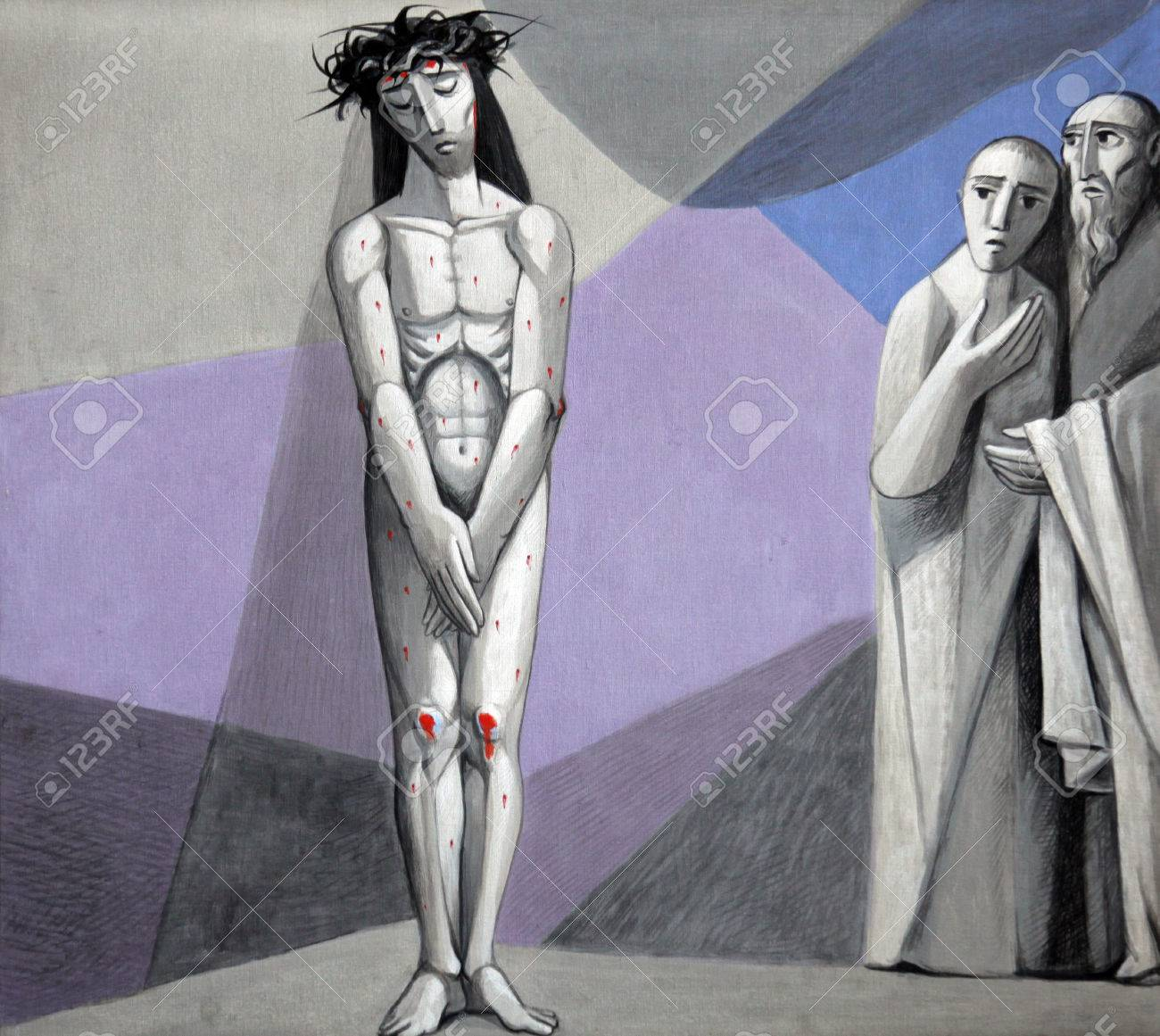 10th Stations of the Cross, Jesus is stripped of His garments in the Church of the Holy Trinity in the Bavarian village of Gemunden am Main Stock Photo - 39885369