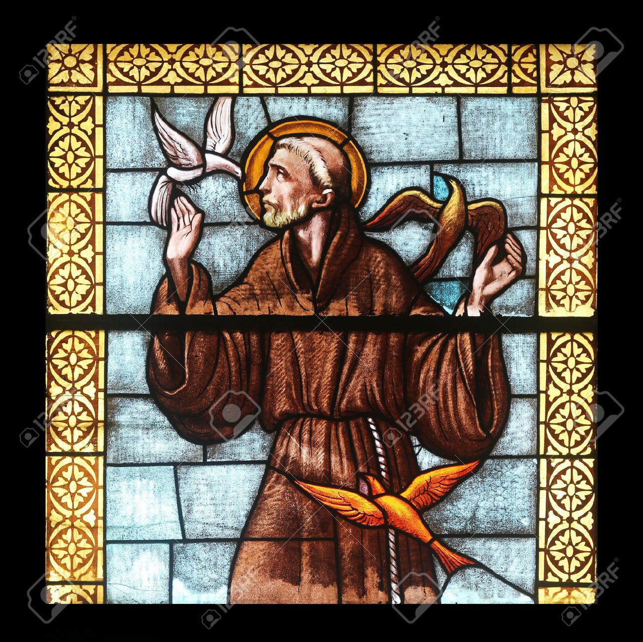 Saint Francis of Assi, stained glass window in the church of St  James the Greater in Porto Azzurro, Elba, Italy Stock Photo - 29224074