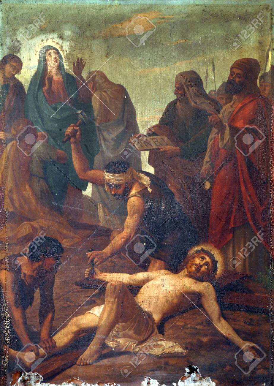 11th Stations Of The Cross, Crucifixion Jesus Is Nailed To The ...