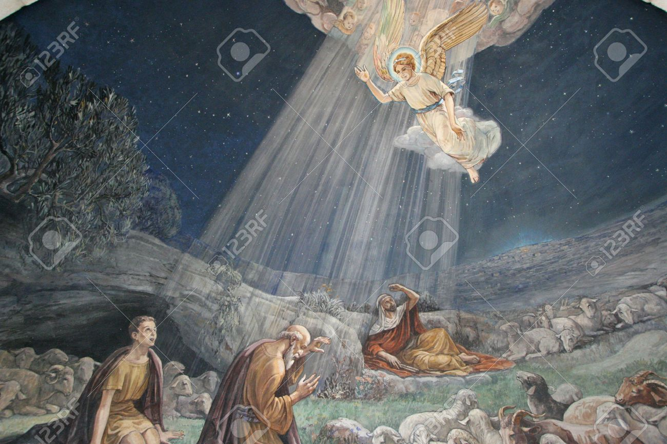 Angel of the Lord visited the shepherds and informed them of Jesus Stock Photo - 29517489