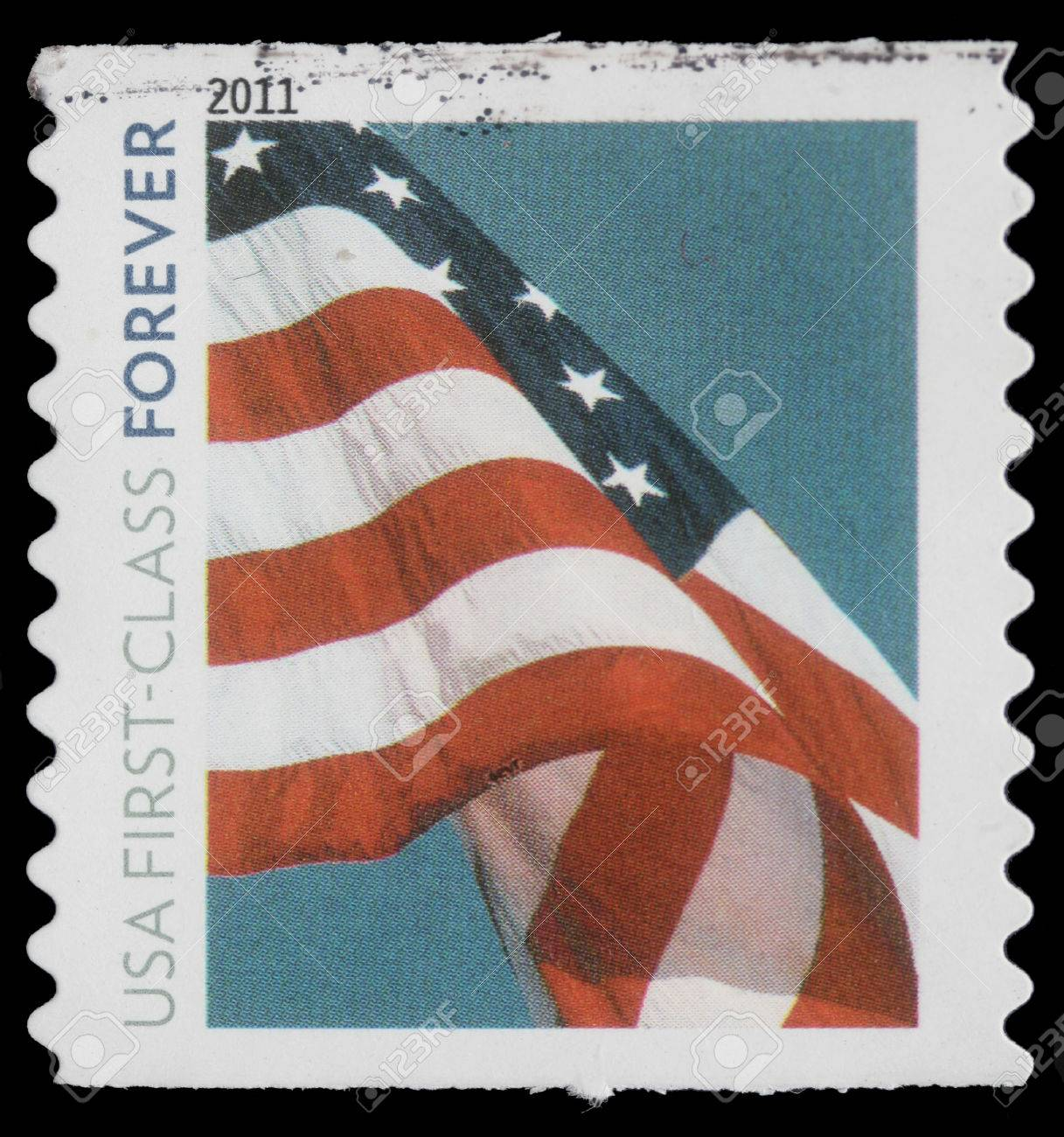 Stamp Printed In USA Flag Usa First Class Forever Circa 2011 Stock