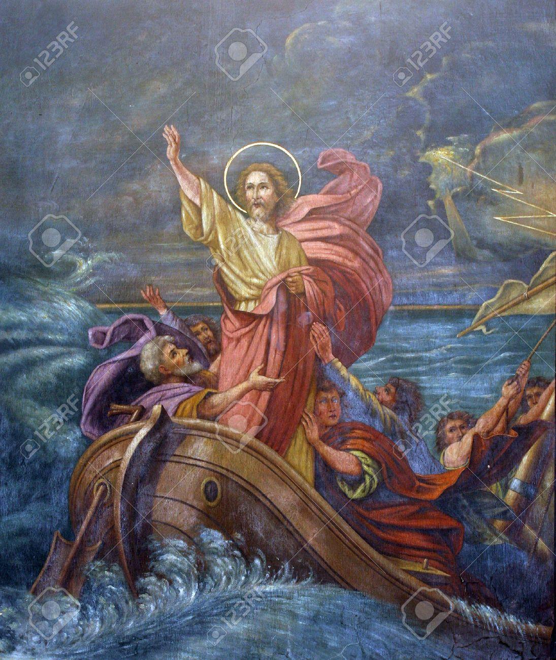 Jesus Calms a Storm on the Sea Stock Photo - 31792220