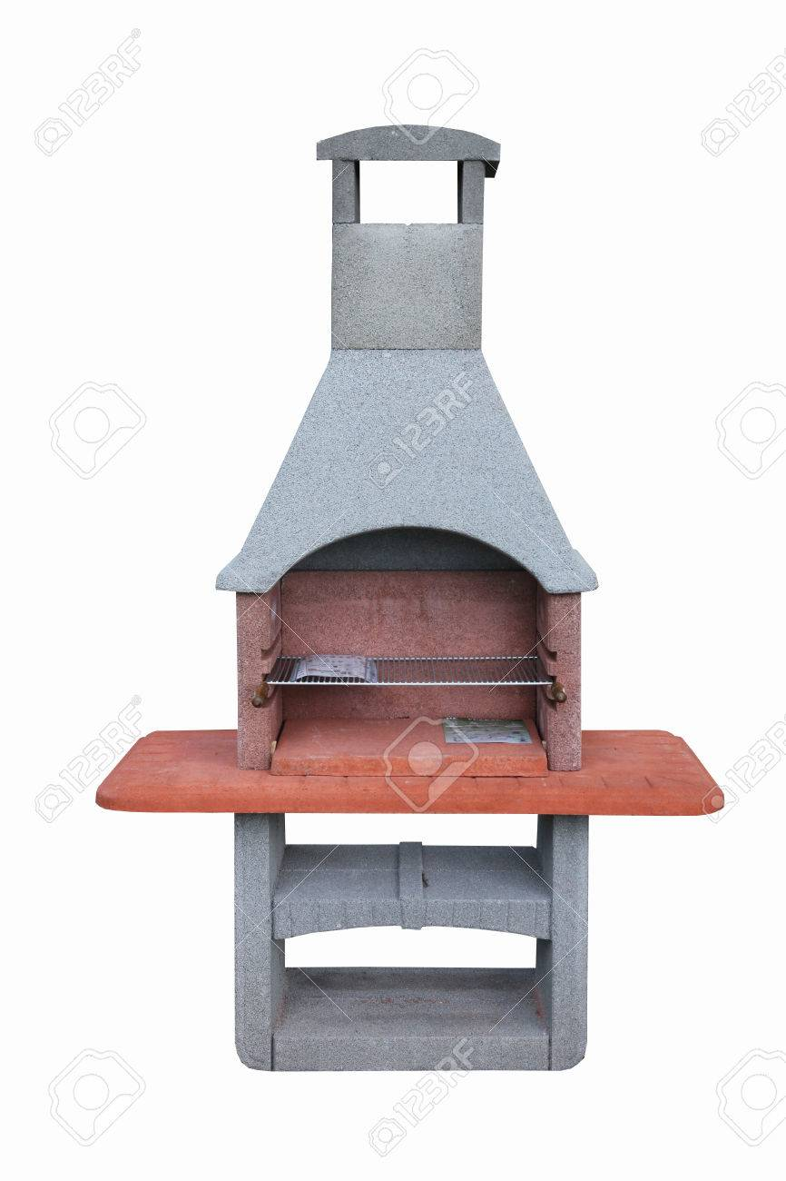 outdoor fireplace barbecue grill made from bricks and cement